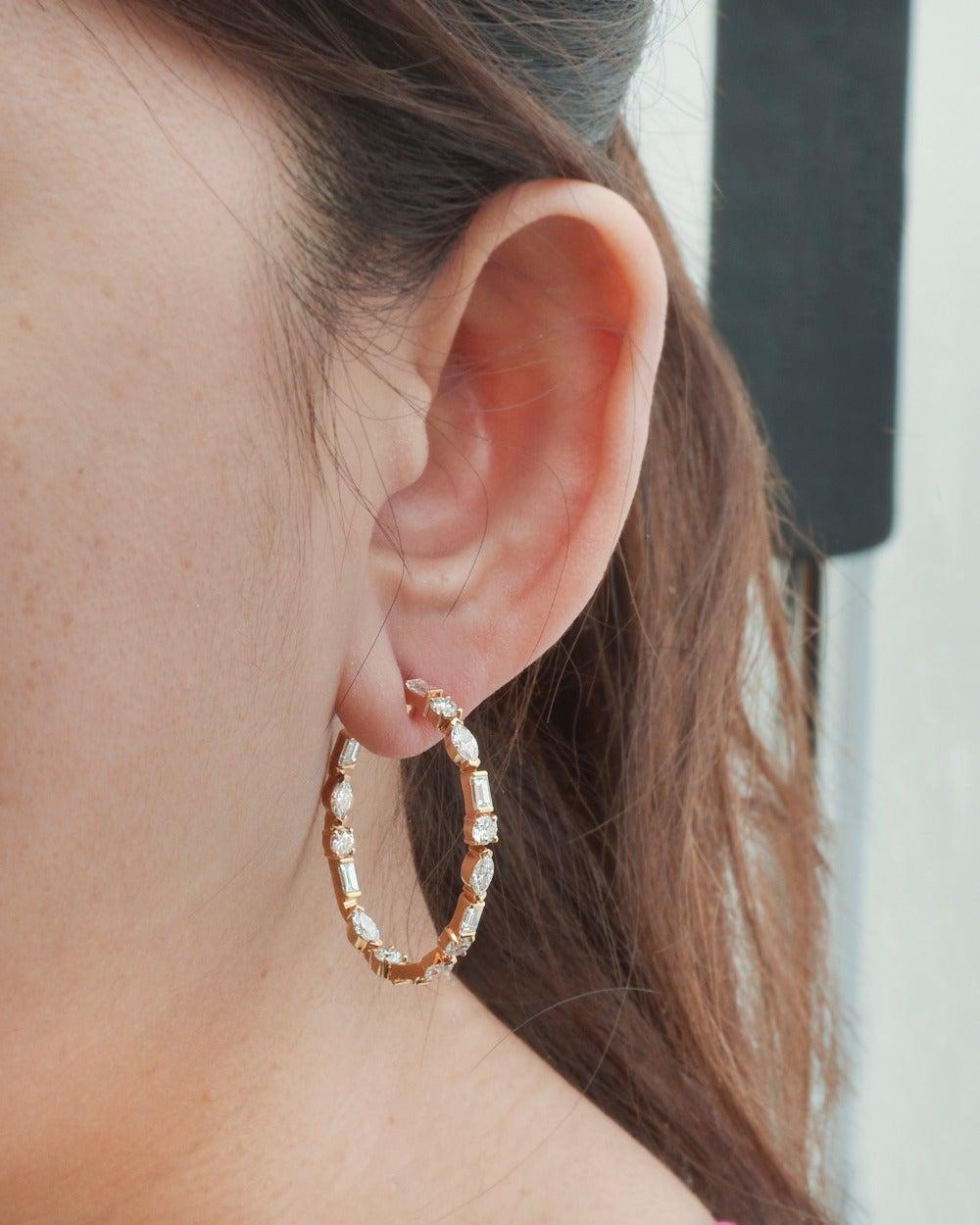 Ivanka Trump Mixed-Cut Diamond Gold Hoop Earrings 2