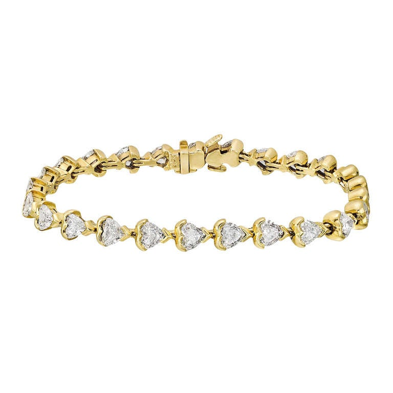 Heart Shaped Diamond Line Bracelet 5 2 Ct Tw For Sale