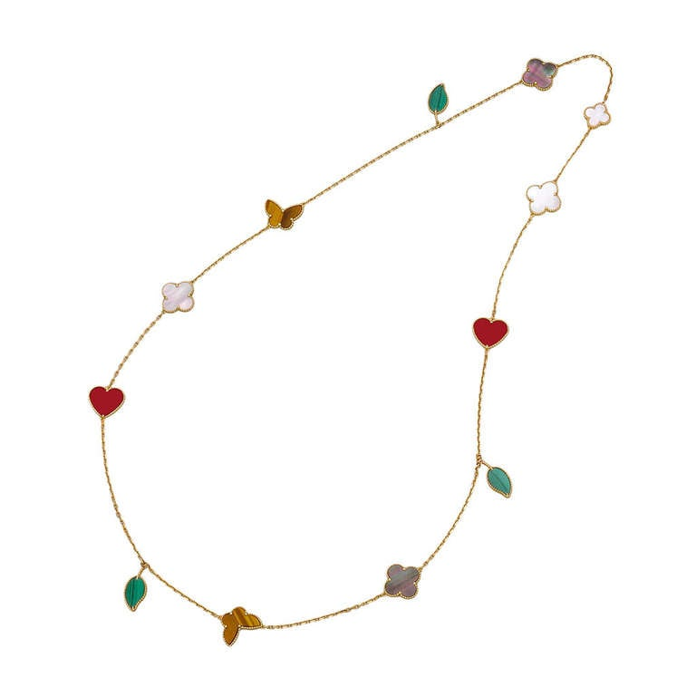 """Van Cleef Lucky Alhambra Necklace: Van Cleef And Arpels Gold And Gem-Set """"Lucky Alhambra"""