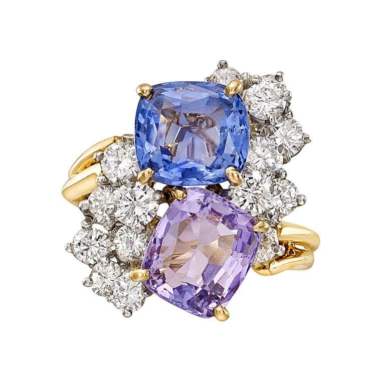 Oscar Heyman Multicolored Sapphire & Diamond Twin Ring For Sale