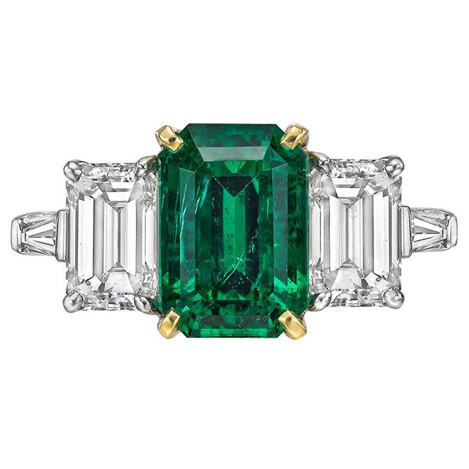Cartier 3 34 Carat Gia Cert Emerald Diamond Three Stone