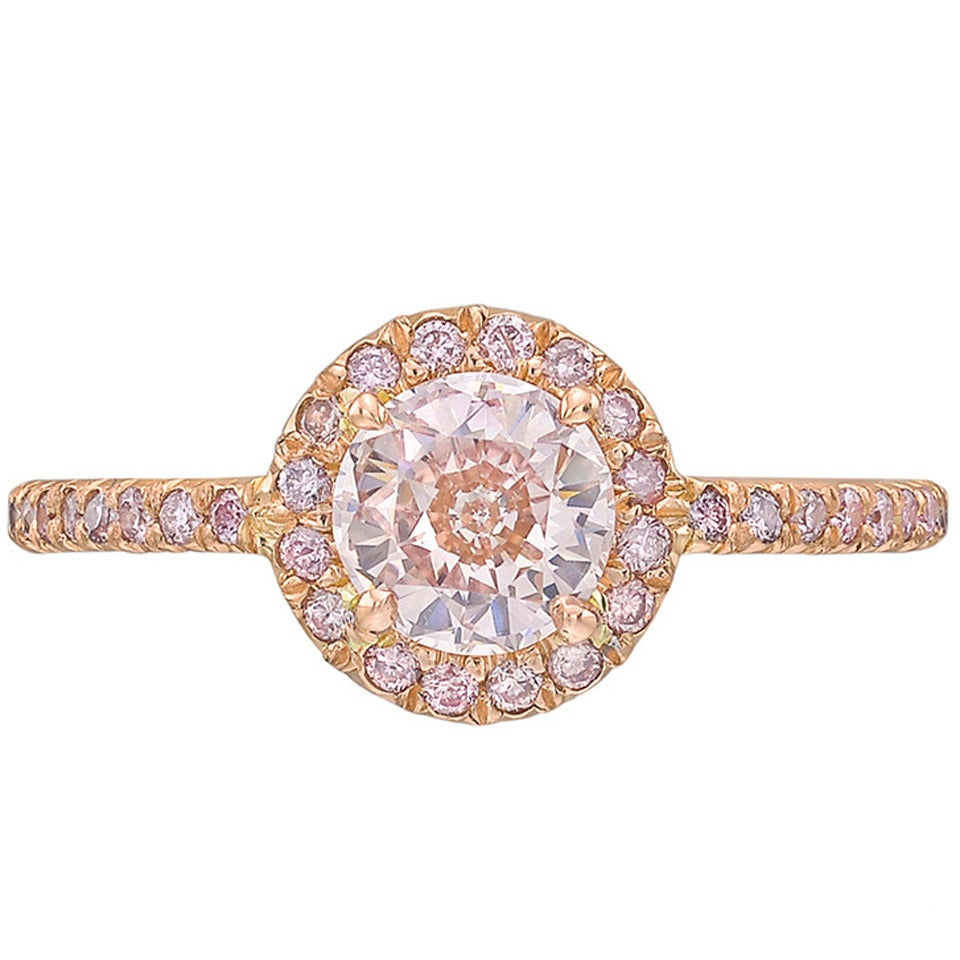 Fancy GIA Cert Brownish-Pink Diamond Gold Ring