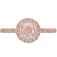 Fancy GIA Cert Brownish-Pink Diamond Gold Ring