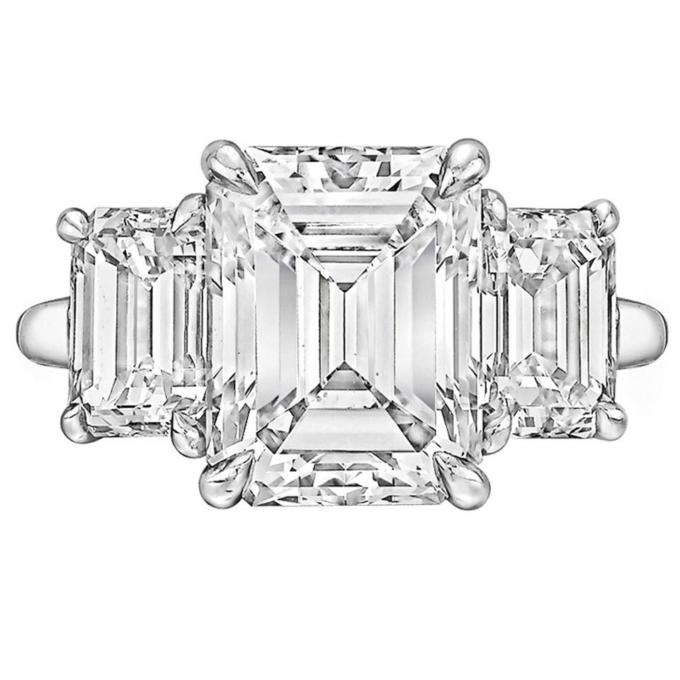 Tiffany & Co. 4.00 Carat GIA Cert Emerald-Cut Diamond Platinum Engagement Ring 1