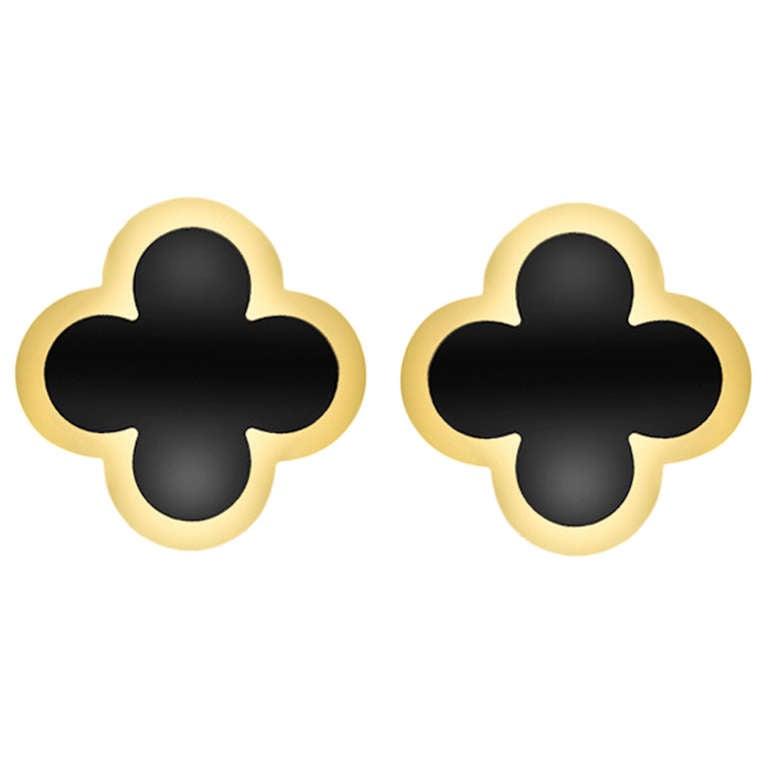"""Van Cleef & Arpels Gold & Black Onyx """"Alhambra"""" Earclips 1"""