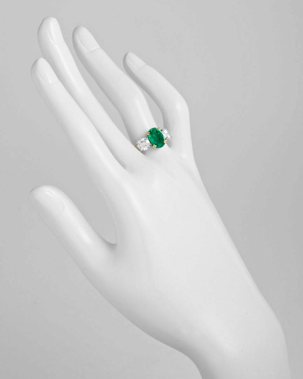 Colombian GIA Cert Emerald Diamond Gold Platinum Three Stone Ring 2
