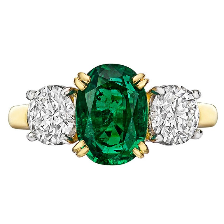 Colombian GIA Cert Emerald Diamond Gold Platinum Three Stone Ring