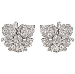 Pair of Diamond Platinum Orchid Flower Dress Clips