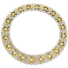 Gold & Pavé Diamond Geometric Collar Necklace