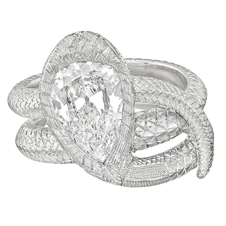 2 04 Carat Pear Shaped Diamond Snake Ring at 1stdibs