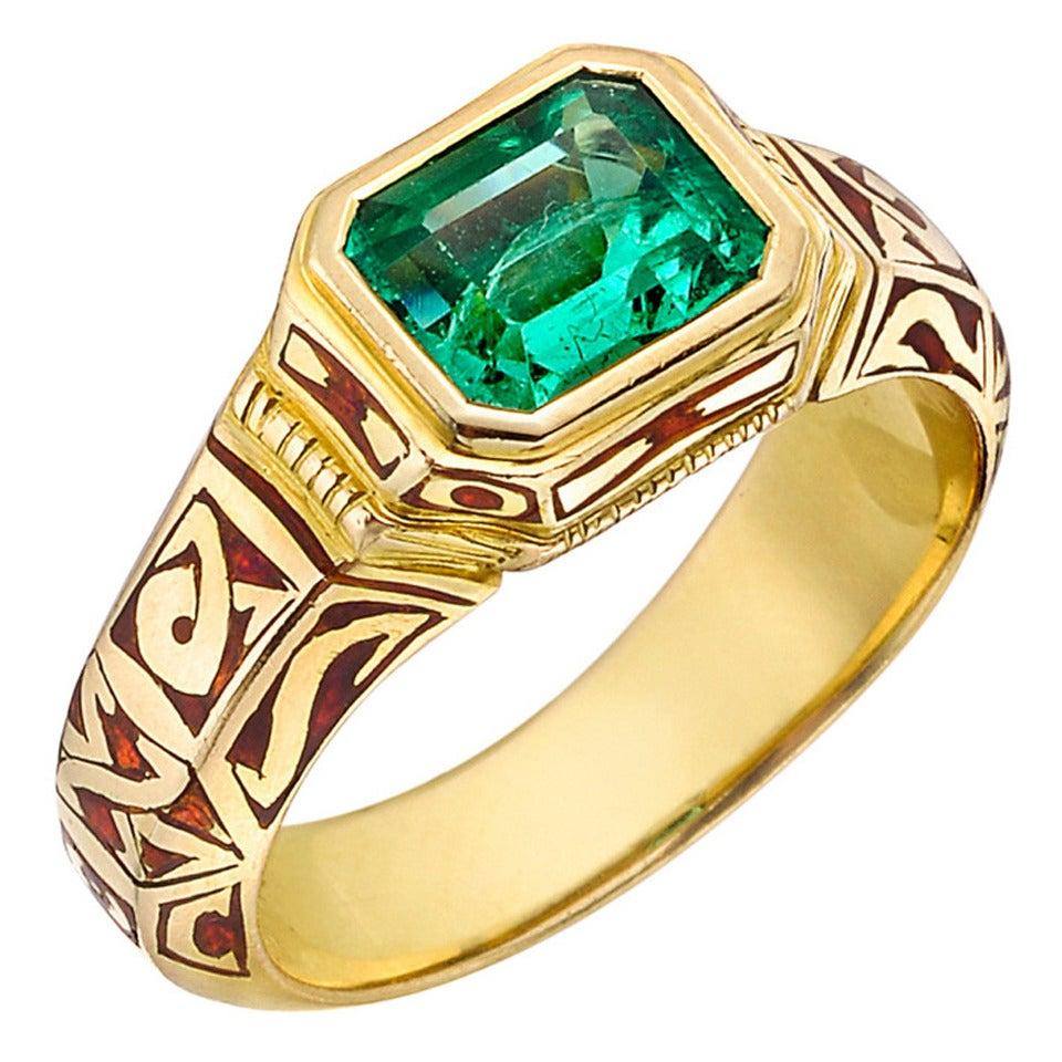 otto jakob emerald enamel gold dress ring at 1stdibs
