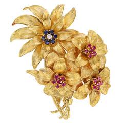 Tiffany & Co. Gemstone Gold Flower Brooch