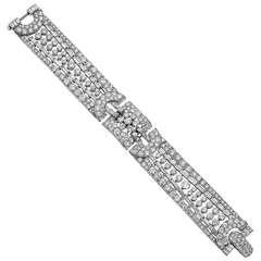 Wide Diamond Platinum Bracelet