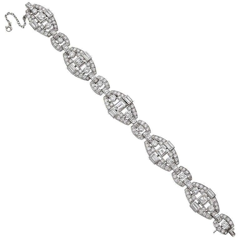 Mauboussin Platinum & Diamond Panel Link Bracelet