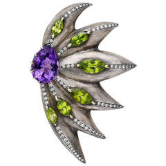 Sorab & Roshi Large Gem-Set Flower Brooch