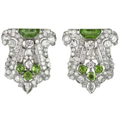 Pair of Art Deco Peridot Diamond Dress Clips