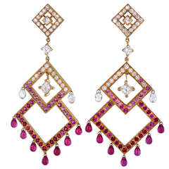 Boucheron Ruby Diamond Pink Sapphire Chandelier Earrings