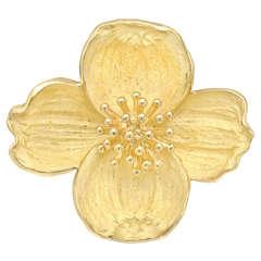 Tiffany & Co. Gold Dogwood Flower Pin