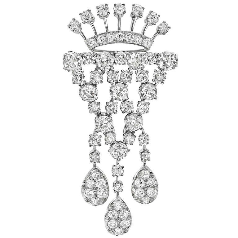 Tiffany & Co. Diamond Platinum Drop Brooch