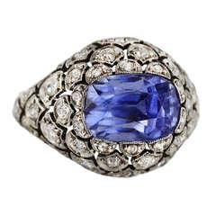 Edwardian 6.00 Carat Sapphire and Diamond Ring