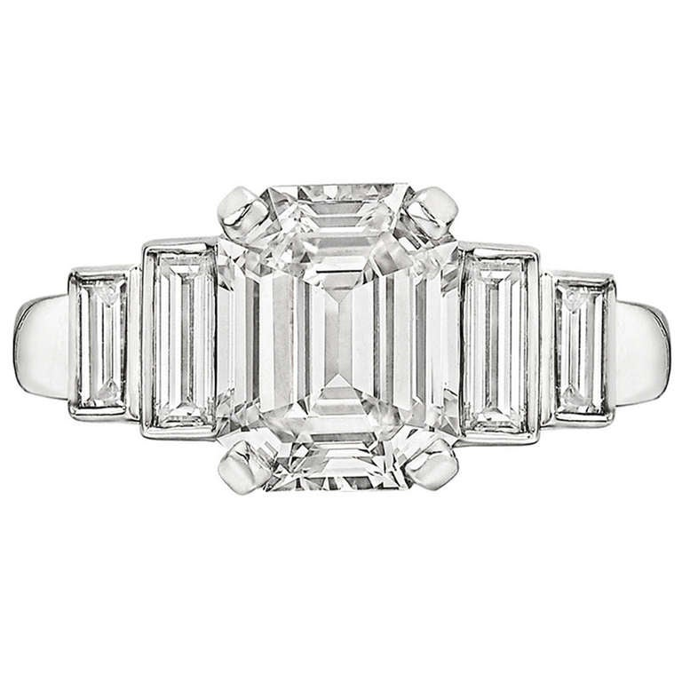 2 29 carat emerald cut engagement ring at 1stdibs