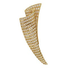 Pave Diamond and Gold Scroll Brooch