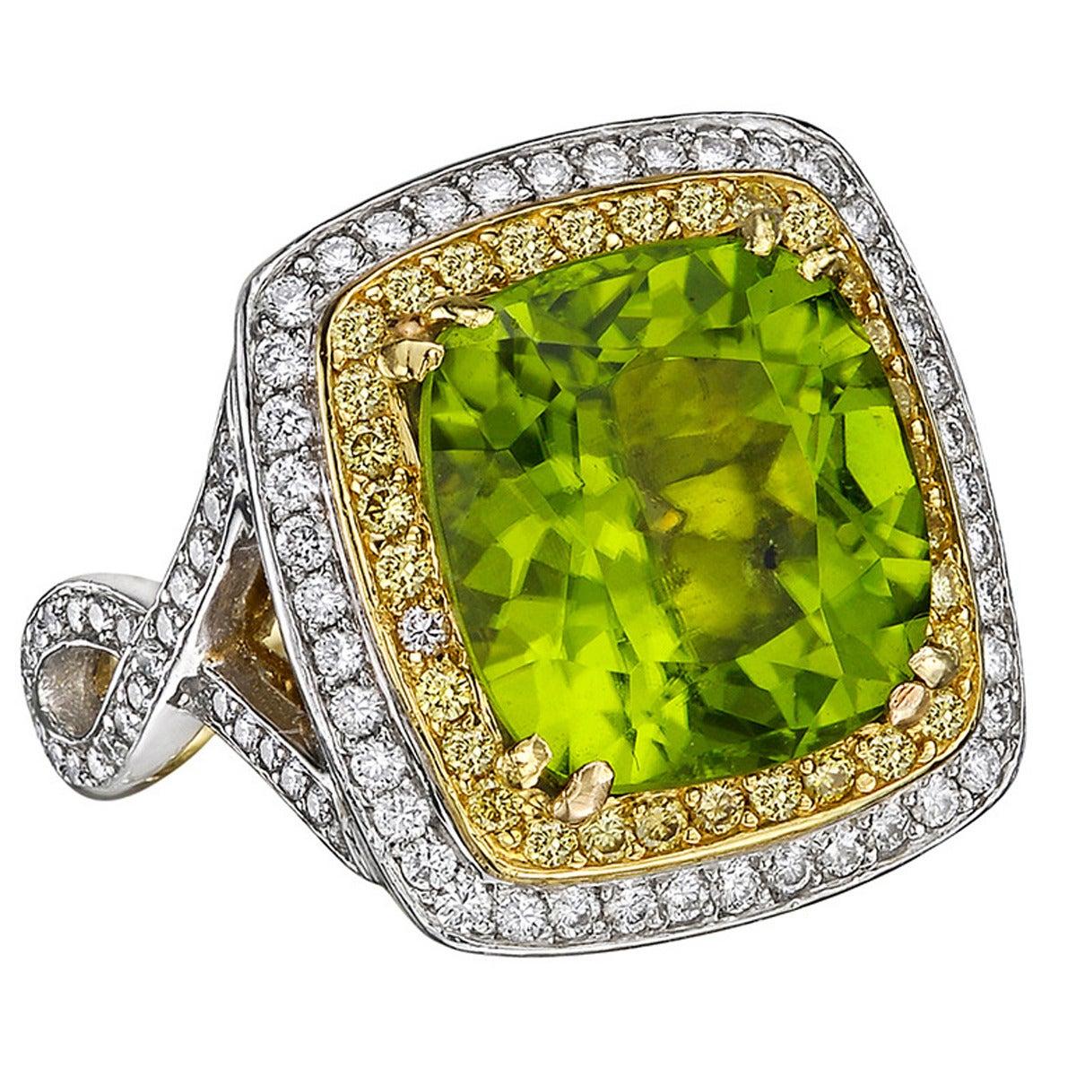 Beaudry Peridot Diamond Gold Platinum Cocktail Ring 1