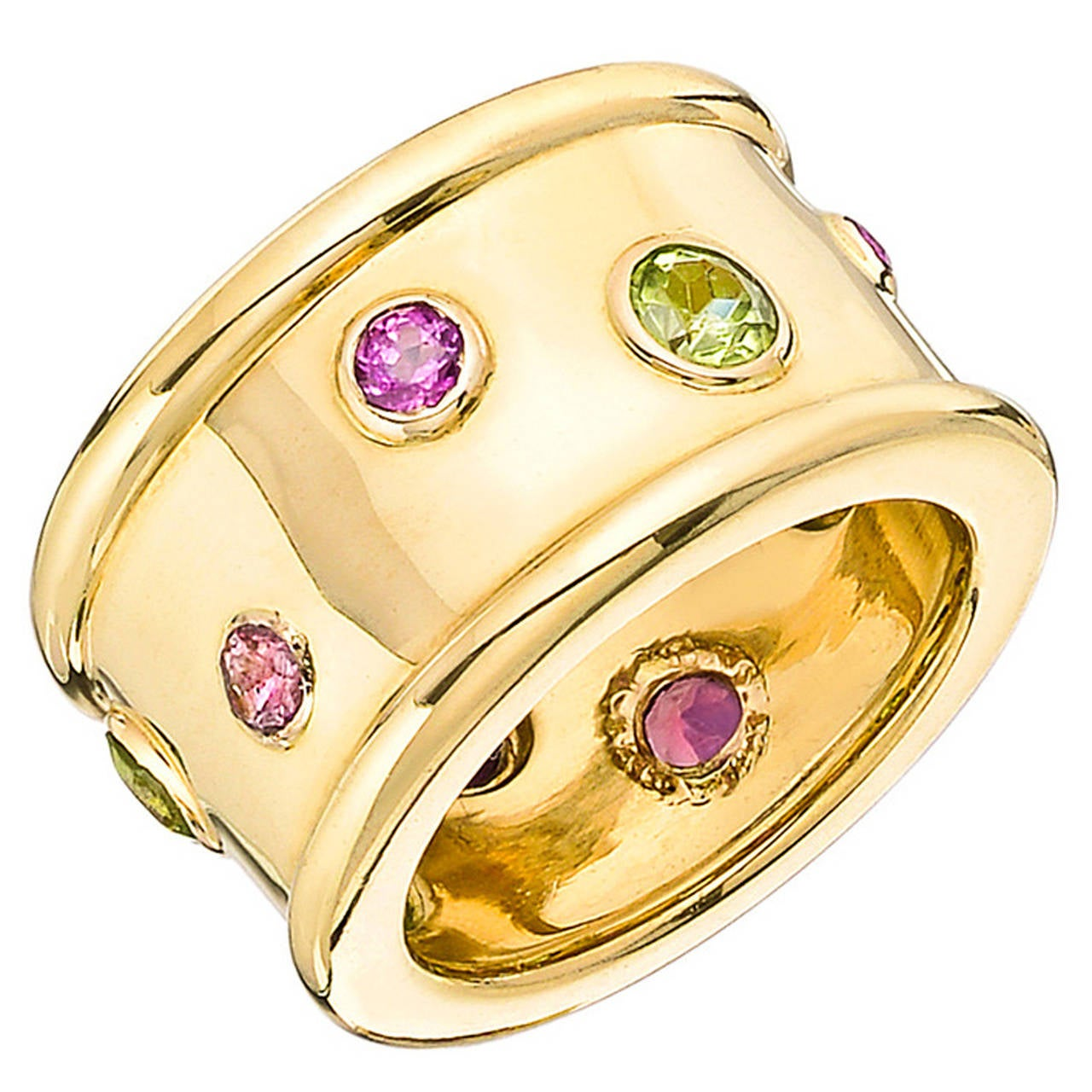 Chanel Peridot Pink Tourmaline Gold Wide Band Ring For Sale