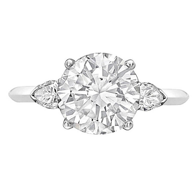 Cartier 3 05 Carat Round Brilliant Diamond En Ement Ring For Sale