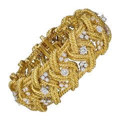 Gold & Diamond Woven Rope-Twist Bracelet