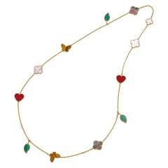 """Van Cleef & Arpels Gold Gem-Set """"Lucky Alhambra"""" Long Necklace"""