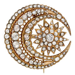 Antique Diamond Gold Crescent Moon Starburst Brooch