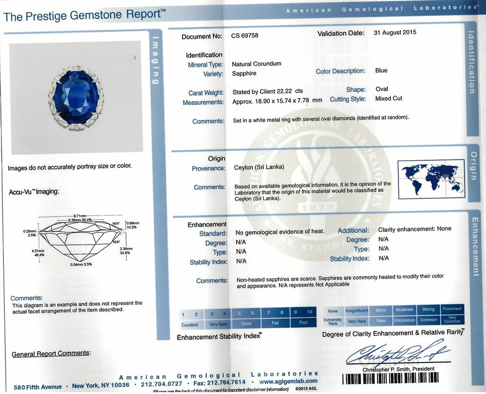 22.22 Carat Sapphire & Diamond Ring In Excellent Condition For Sale In Greenwich, CT