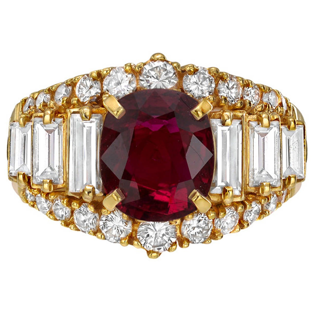 3.03 Carat Ruby and Diamond Dress Ring