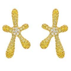 Yellow Sapphire and Diamond Starburst Earrings