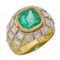 Buccellati Emerald Diamond Dome Ring