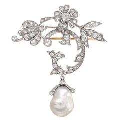 Natural Pearl Diamond Brooch