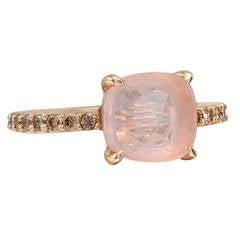 Pomellato Rose Quartz Pave Cognac Diamond Ring
