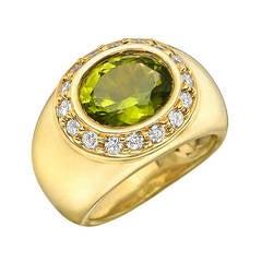 Wander Peridot Diamond Domed Band Ring