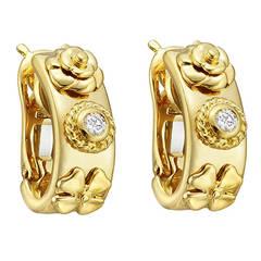 Chanel Gold Diamond Floral Hoop Earrings
