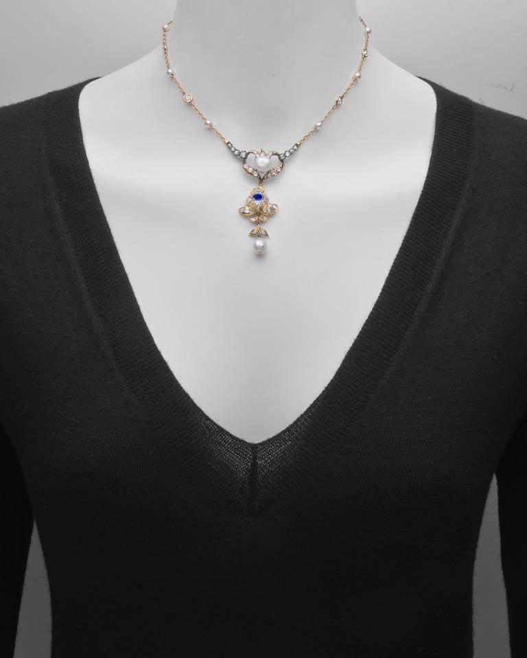 Antique Natural Pearl, Sapphire & Diamond Pendant 2