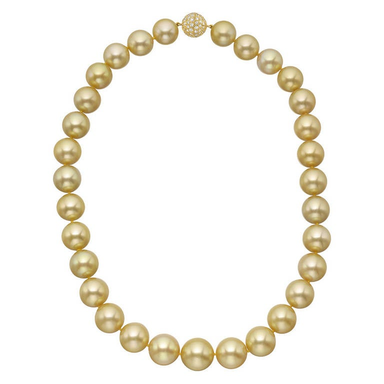 Golden South Sea Pearl Necklace with Pave Diamond Clasp