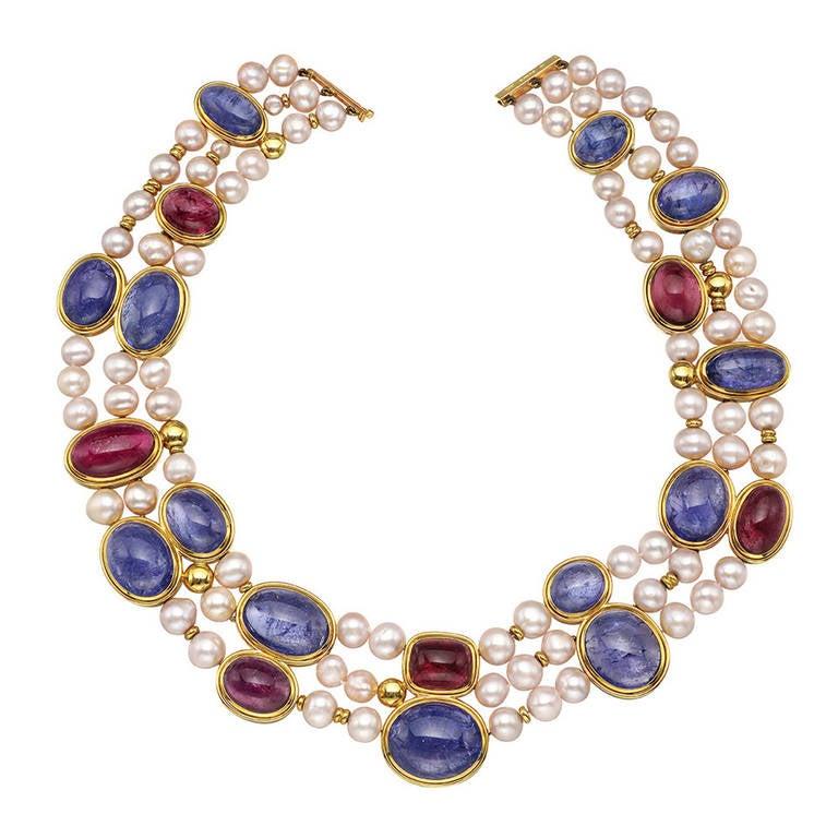 Pearl Tanzanite: Pearl Tanzanite Rubellite Necklace At 1stdibs