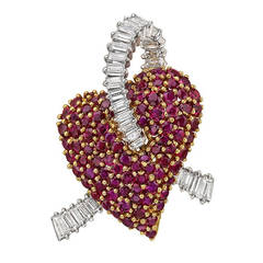 ​Ruby Diamond Heart Brooch