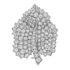 Tiffany & Co. Diamond Platinum Leaf Pin