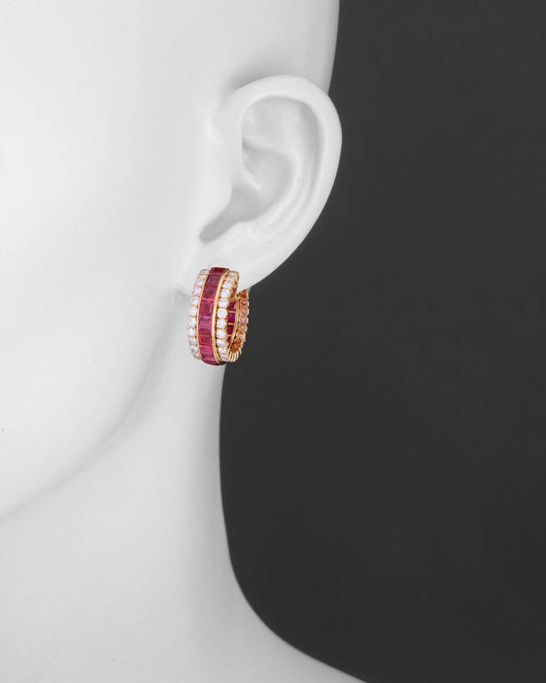 Van Cleef & Arpels Invisible-Set Ruby & Diamond Hoop Earclips 2