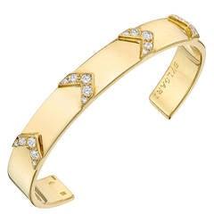 Bulgari Diamond Gold Chevron Cuff Bracelet