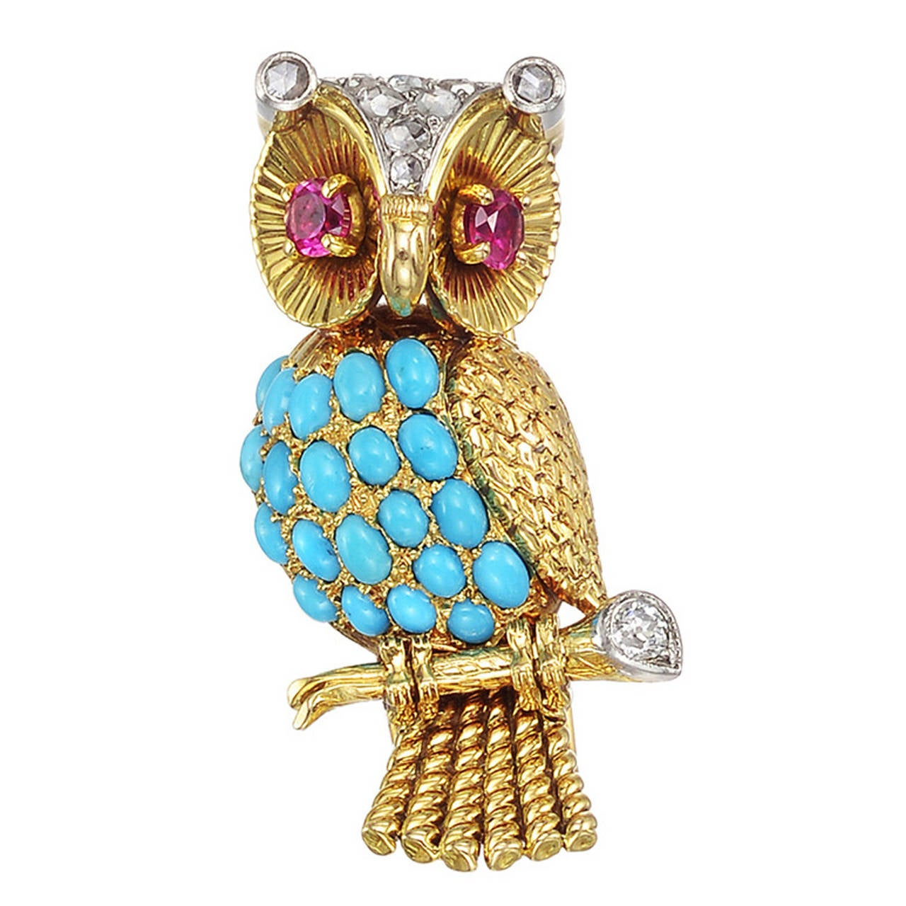 French Gem-Set Gold Owl Pin For Sale