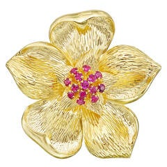 Tiffany & Co. Ruby Gold Flower Pin