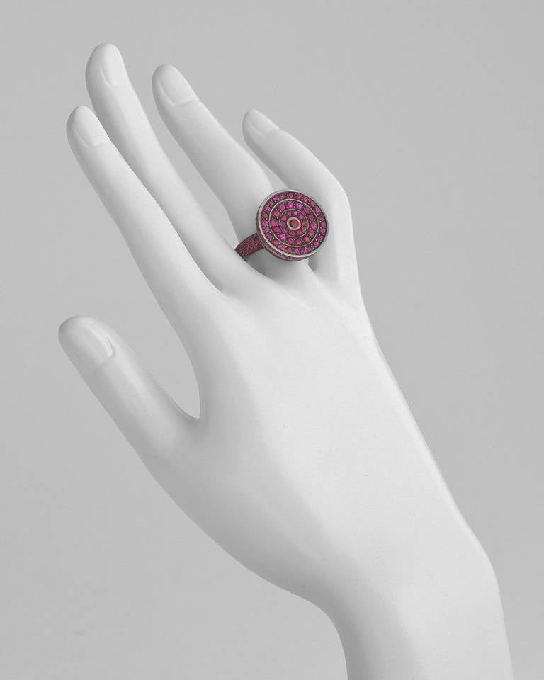 Boucheron Ruby Blackened Gold Secret Ring In Excellent Condition In Greenwich, CT